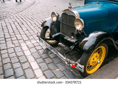 Prague, Czech Republic - October 10, 2014: Close up of old vintage blue car Ford A