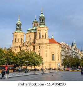 Prague, Czech Republic - October 11, 2017: Full view on ancient Church of Saint Nicholas is a Baroque church in the Lesser Town of Prague, Czech Republic