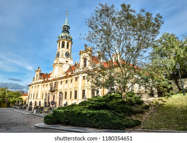 Prague, Czech Republic - October 12, 2017: The Prague Loreto is a remarkable Baroque historic monument, a place of pilgrimage with captivating history.