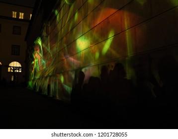 PRAGUE, CZECH REPUBLIC - OCTOBER 12, 2018: Interactive projection Aquarium from Marpi Studio in the Klementinum area during the SIGNAL festival 2018.