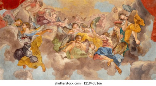 PRAGUE, CZECH REPUBLIC - OCTOBER 12, 2018: The baroque fresco of Angels with the music insturments in church kostel Svateho Tomase by  Vaclav Vavrinec Rainer (1689 - 1743).