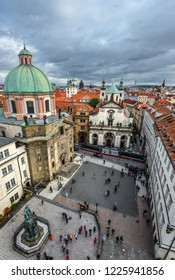 Prague, Czech Republic - October 12, 2017: Crusaders Square and St. Francis Church, view from Old Town Bridge Tower, Prague Czech Republic