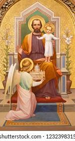 PRAGUE, CZECH REPUBLIC - OCTOBER 12, 2018: The painting of St. Joseph in church Bazilika svatého Petra a Pavla na Vyšehrade by S. G. Rudl (1895).