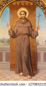 PRAGUE, CZECH REPUBLIC - OCTOBER 12, 2018: The painting St. Francis in church Bazilika svatého Petra a Pavla na Vyšehrade by S. G. Rudl (1895).
