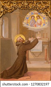 PRAGUE, CZECH REPUBLIC - OCTOBER 12, 2018: The painting of the Vision of St. Francis in the Portiuncula in church Bazilika svatého Petra a Pavla na Vyšehrade by S. G. Rudl (1895).