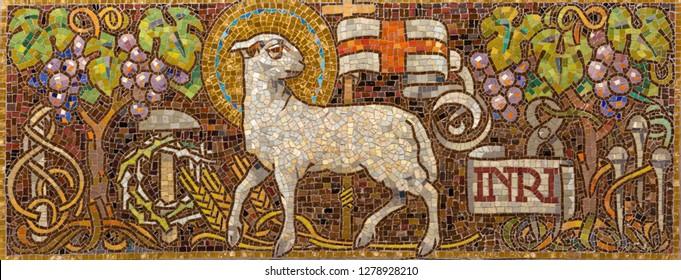 PRAGUE, CZECH REPUBLIC - OCTOBER 12, 2018: The symbolic mosac of Lamb of God in church Bazilika svatého Petra a Pavla na Vyšehrade.