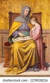 PRAGUE, CZECH REPUBLIC - OCTOBER 12, 2018: The painting St. Ann with the Virgin Mary in church Bazilika svatého Petra a Pavla na Vyšehrade by S. G. Rudl (1895).