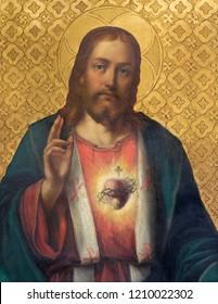 PRAGUE, CZECH REPUBLIC - OCTOBER 13, 2018: The painting of Heart of Jesus church kostel Svatého Václava by unknown artist of 19. cent.