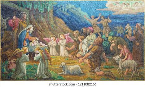 PRAGUE, CZECH REPUBLIC - OCTOBER 13, 2018: The mosiac of Adoration of Shepherds the in church kostel Svatého Václava by artwork of S. G. Rudl in workroom of Albert Neuhauser (1928.)