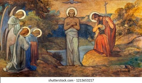 PRAGUE, CZECH REPUBLIC - OCTOBER 13, 2018: The fresco of Baptism of Jesus in church kostel Svatého Václava by S. G. Rudl (1900).