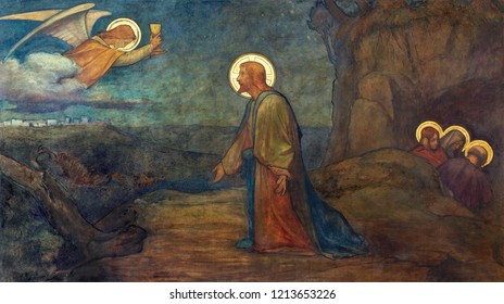 PRAGUE, CZECH REPUBLIC - OCTOBER 13, 2018: The fresco of Jesus in Gethsemane garden in church kostel Svatého Václava by S. G. Rudl (1900).