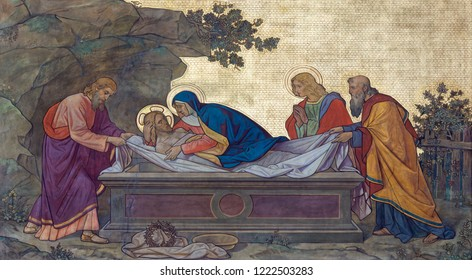 PRAGUE, CZECH REPUBLIC - OCTOBER 13, 2018: The fresco of Burial of Jesus in church kostel Svatého Cyrila a Metodeje probably by Gustav Miksch and Antonin Krisan (19. cent.).