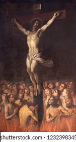 PRAGUE, CZECH REPUBLIC - OCTOBER 13, 2018: The painting of Crucifixion among the souls in Purgatory in the church kostel Svatého Ignáce by  Jan Jiří Heinsch (1647 - 1712).