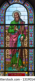 PRAGUE, CZECH REPUBLIC - OCTOBER 13, 2018: The apostle Saint Andrew in the stained glass of the church kostel Svatého Václava  (end of 19. cent).
