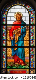 PRAGUE, CZECH REPUBLIC - OCTOBER 13, 2018: The apostle Saint Thomas the Evangelist in the stained glass of the church kostel Svatého Václava  (end of 19. cent).