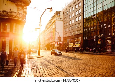 PRAGUE, CZECH REPUBLIC - OCTOBER 13, 2018: A view of the Narodni avenue one of the most important avenues in Prague, Czech Republic, at sunset
