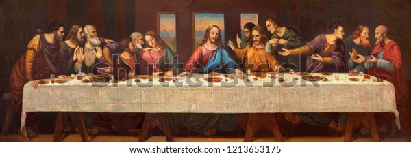 PRAGUE, CZECH REPUBLIC - OCTOBER 13, 2018: The paint of Last Supper on the side altar in church kostel Svatého Václava by unknown artist of 19. cent.