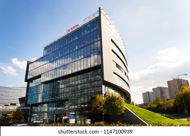 PRAGUE, CZECH REPUBLIC - OCTOBER 14 2017: CSL Behring biopharmaceutical company logo on headquarters building on October 14, 2017 in Prague, Czech Republic.