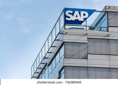PRAGUE, CZECH REPUBLIC - OCTOBER 14: SAP multinational software corporation logo on Czech headquarters building on October 14, 2017 in Prague, Czech republic.
