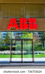 PRAGUE, CZECH REPUBLIC - OCTOBER 14: ABB company logo on headquarters  building on October 14, 2017 in Prague, Czech republic. ABB develops microgrid solution for battery energy storage.