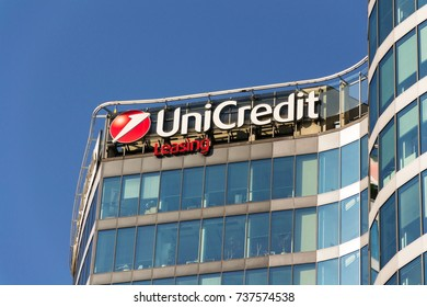 PRAGUE, CZECH REPUBLIC - OCTOBER 14: UniCredit Group banking company logo on headquarters building on October 14, 2017 in Prague, Czech republic. Italys largest bank is scouting for partners.