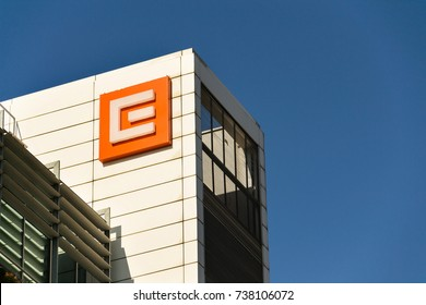 PRAGUE, CZECH REPUBLIC - OCTOBER 14: CEZ group company logo on headquarters building on October 14, 2017 in Prague, Czech republic.