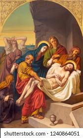 PRAGUE, CZECH REPUBLIC - OCTOBER 15, 2018: The painting of Burial of Jesus in church Bazilika svatého Petra a Pavla na Vyšehrade by František Čermák (1822 - 1884).