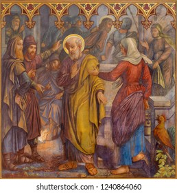 PRAGUE, CZECH REPUBLIC - OCTOBER 15, 2018: The fresco of The Peter Disowns Jesus in church Bazilika svatého Petra a Pavla na Vyšehrade by S. G. Rudl (1895).