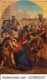 PRAGUE, CZECH REPUBLIC - OCTOBER 15, 2018: The painting of Fall of Jesus under the cross in church Bazilika svatého Petra a Pavla na Vyšehrade by František Čermák (1822 - 1884).
