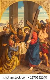 PRAGUE, CZECH REPUBLIC - OCTOBER 15, 2018: The painting Veronica wipes the face of Jesus in church Bazilika svatého Petra a Pavla na Vyšehrade by František Čermák (1822 - 1884).