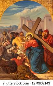 PRAGUE, CZECH REPUBLIC - OCTOBER 15, 2018: The painting Jesus meets the women of Jerusalem in church Bazilika svatého Petra a Pavla na Vyšehrade by František Čermák (1822 - 1884).
