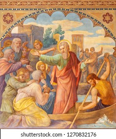 PRAGUE, CZECH REPUBLIC - OCTOBER 15, 2018: The fresco Paul's Farewell to Ephesian Elders in church Bazilika svatého Petra a Pavla na Vyšehrade by S. G. Rudl (1895).