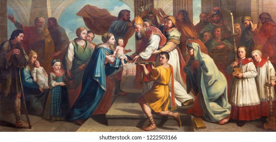 PRAGUE, CZECH REPUBLIC - OCTOBER 16, 2018: The painting of Presentation of Jesus in the Temple in church kostel Svatého Havla by unknown baroque artist.