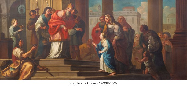 PRAGUE, CZECH REPUBLIC - OCTOBER 16, 2018: The painting of Presentation of Virgin Mary in the Temple in church kostel Svatého Havla by unknown baroque artist.