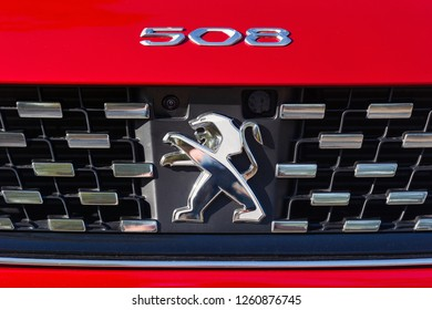 PRAGUE, CZECH REPUBLIC - OCTOBER 16, 2018: Logo of Peugeot vehicle in Prague, Czech Republic, October 16, 2018