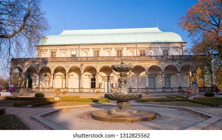 PRAGUE, CZECH REPUBLIC - OCTOBER 16, 2018: The renessance palace Letohrádek královny Anny (or Belveder) near the Castle