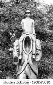 PRAGUE, CZECH REPUBLIC - OCTOBER 17, 2018: Franz Kafka Memorial. Unusual sculpture in Jewish Quarter, Prague, Czech Republic Black and white image.