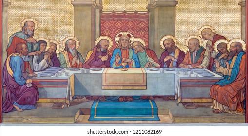 PRAGUE, CZECH REPUBLIC - OCTOBER 17, 2018: The fresco of Last Supper  in church kostel Svateho Cyrila Metodeje probably by Gustav Miksch and Antonin Krisan (19. cent.).