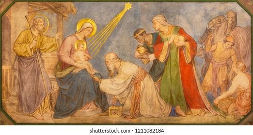 PRAGUE, CZECH REPUBLIC - OCTOBER 17, 2018: The fresco of Adoration of Magi the in church kostel Svatého Cyrila Metodeje by Petr Maixner (1868).