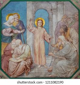 PRAGUE, CZECH REPUBLIC - OCTOBER 17, 2018: The fresco of Twelve old Jesus in the Temple in church kostel Svatého Cyrila Metodeje by Petr Maixner (1872).