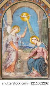 PRAGUE, CZECH REPUBLIC - OCTOBER 17, 2018: The fresco of Annunciation in the church kostel Svatého Cyrila Metodeje by Petr Maixner (1872).