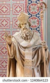 PRAGUE, CZECH REPUBLIC - OCTOBER 17, 2018: The carved statue of Saint Methodius in church Svatého Cyrila Metodeje by Bretislav Kafka (1891 - 1967).