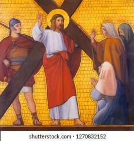 PRAGUE, CZECH REPUBLIC - OCTOBER 17, 2018: The painting Jesus meets the women of Jerusalem in the church kostel Svatého Cyrila Metodeje by  S. G. Rudl (1935).
