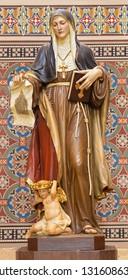 PRAGUE, CZECH REPUBLIC - OCTOBER 17, 2018: The carved statue of St. Agnes of Bohemia  in church Svatého Cyrila Metodeje by Bretislav Kafka (1891 - 1967).
