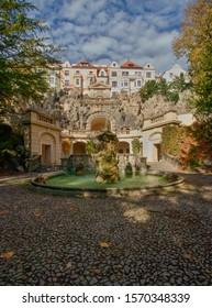 PRAGUE, CZECH REPUBLIC - October 17, 2019:  Grotta in the garden Havlickovy sady in Prague