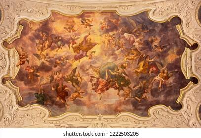 PRAGUE, CZECH REPUBLIC - OCTOBER 18, 2018: The baroque fresco of Creation in church kostel Svaté Voršily by Jan Jakub Stevens ze Steinfelsu (1707).