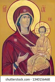 PRAGUE, CZECH REPUBLIC - OCTOBER 18, 2018: The icon of Madonna - Mother of God in church kostel Svaté Kateřiny Alexandrijské.