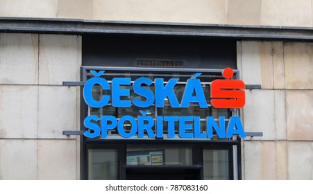 Prague; Czech Republic; October 18, 2017: Building with logo of Ceska Sporitelna, financial institution within Erste Group providing financial and economical services in Czech Republic.