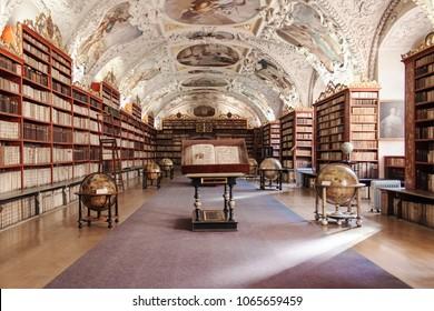 Prague, Czech Republic - October 19, 2006: Theological Hall of Strahov Monastery in Prague, Czech Republic.