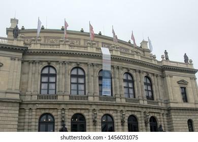 Prague, Czech Republic - October 19, 2017: Classical style building Czech Philharmonic with a banner. Praha
